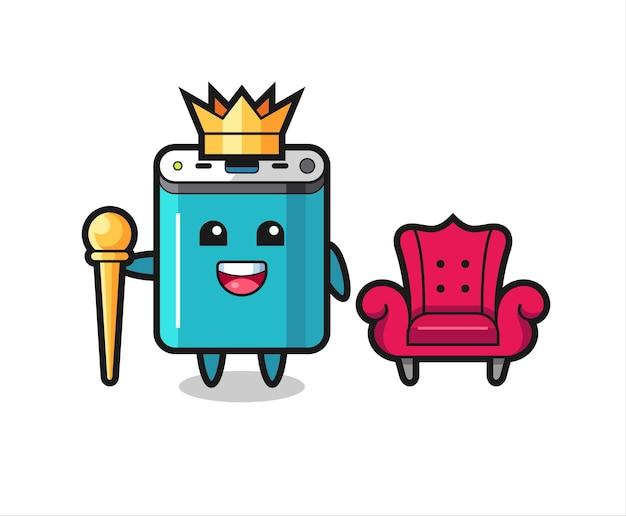 Maskottchen-cartoon der powerbank als könig, niedliches design für t-shirt, aufkleber, logo-element