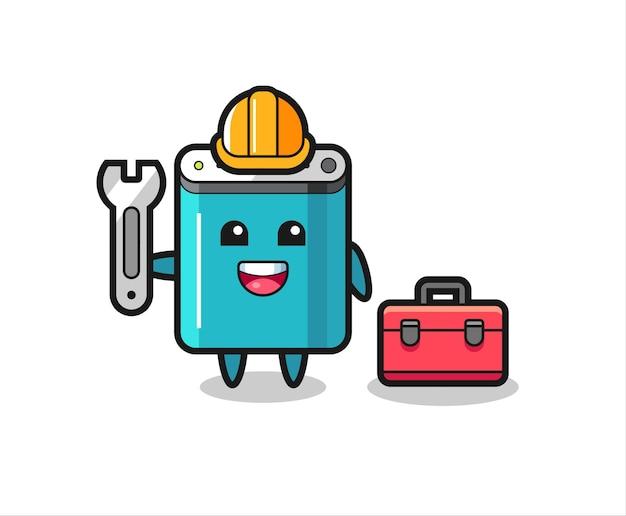 Maskottchen-cartoon der powerbank als mechaniker, niedliches design für t-shirt, aufkleber, logo-element