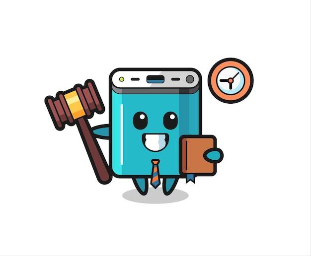 Maskottchen-cartoon der powerbank als richter, niedliches design für t-shirt, aufkleber, logo-element