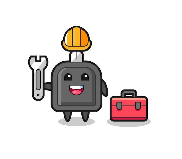 Maskottchen-cartoon des autoschlüssels als mechaniker, niedliches design für t-shirt, aufkleber, logo-element