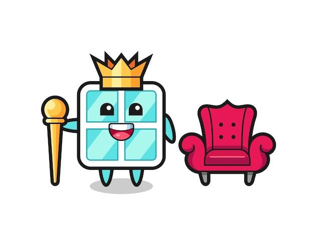 Maskottchen-cartoon des fensters als könig, niedliches design für t-shirt, aufkleber, logo-element
