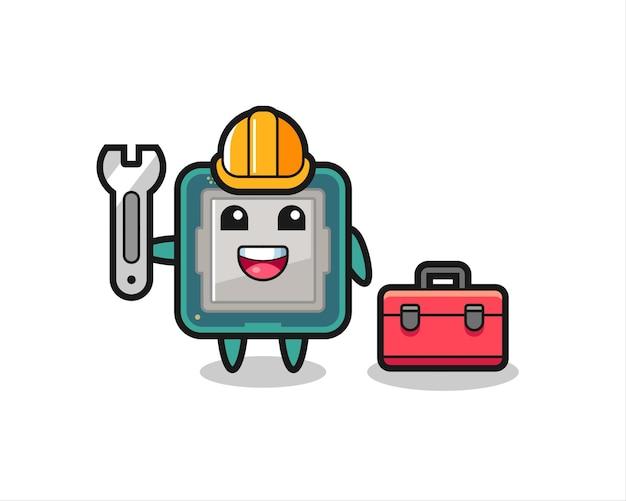 Maskottchen-cartoon des prozessors als mechaniker, niedliches design für t-shirt, aufkleber, logo-element