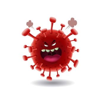 Maskottchen cartoon illustration_angry rot covid-19 corona virus_isolated