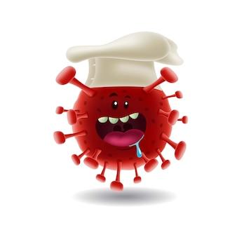 Maskottchen cartoon illustration_chef rot covid-19 corona virus_isolated