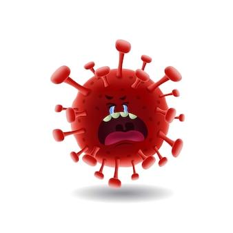 Maskottchen cartoon illustration_crying red covid-19 corona virus_isolated
