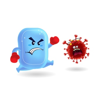 Maskottchen cartoon illustration_cute seife vs red covid-19 corona virus_isolated