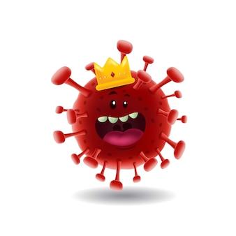 Maskottchen cartoon illustration_king von red covid-19 corona virus_isolated