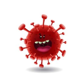 Maskottchen cartoon illustration_red covid-19 corona virus_isolated