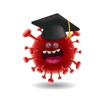 Maskottchen-cartoon illustration_red covid-19 corona-virus mit abschlusskappe_isolated