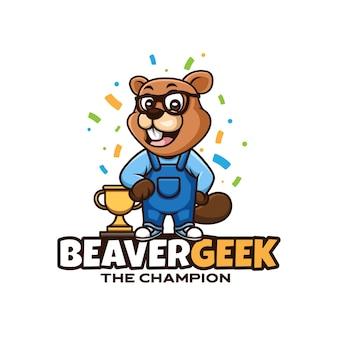 Maskottchen-cartoon-logo-design für geek-biber