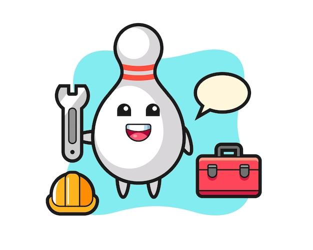 Maskottchen-cartoon von bowling-pin als mechaniker, süßes design für t-shirt, aufkleber, logo-element