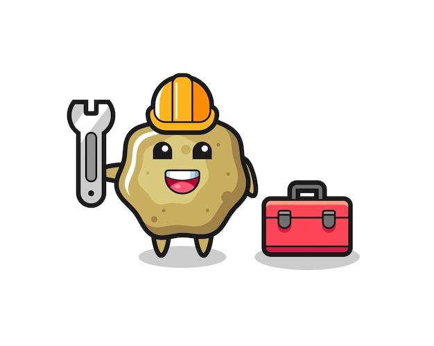 Maskottchen-cartoon von losen hockern als mechaniker, niedliches design für t-shirt, aufkleber, logo-element