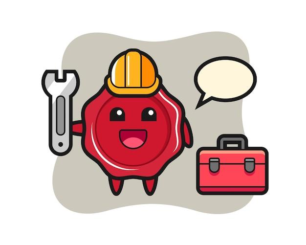 Maskottchen cartoon von siegellack als mechaniker