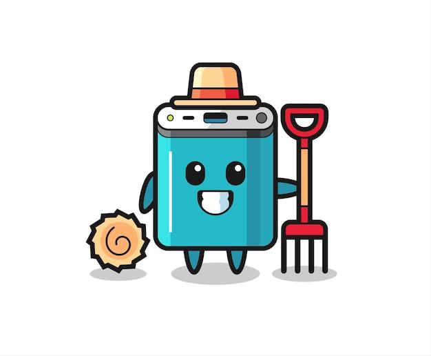 Maskottchen-charakter der powerbank als bauer, süßes design für t-shirt, aufkleber, logo-element