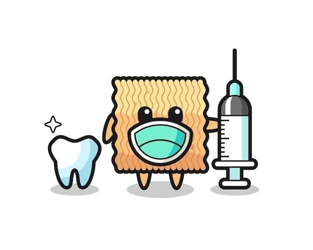 Maskottchen-charakter der rohen instant-nudeln als zahnarzt, süßes design für t-shirt, aufkleber, logo-element
