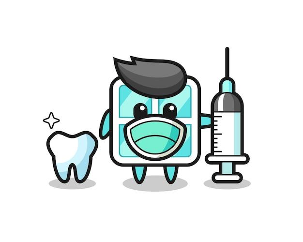 Maskottchen-charakter des fensters als zahnarzt, niedliches design für t-shirt, aufkleber, logo-element