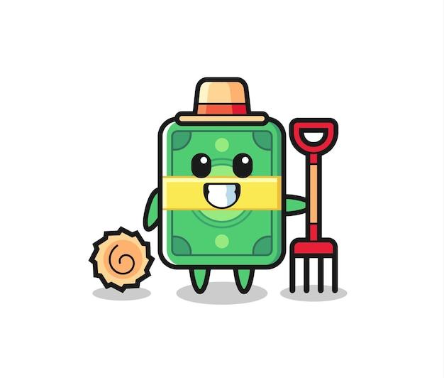 Maskottchen-charakter des geldes als bauer, süßes stildesign für t-shirt, aufkleber, logo-element