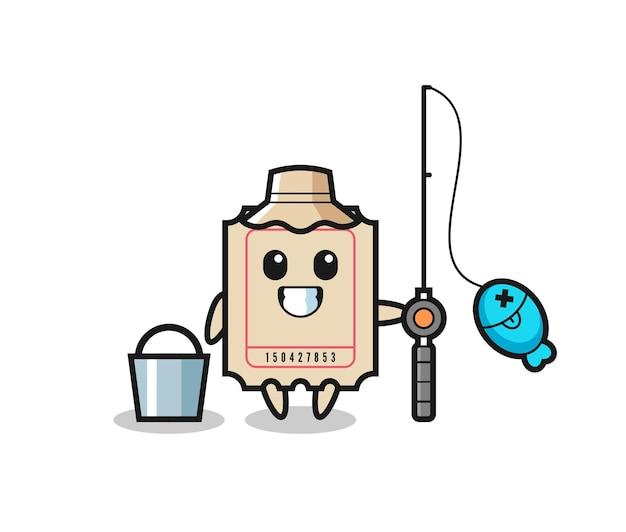 Maskottchen-charakter des tickets als fischer, niedliches design für t-shirt, aufkleber, logo-element