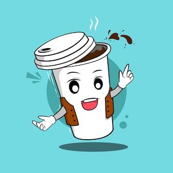 Maskottchen charakter ein glas kaffee