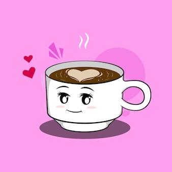 Maskottchen charakter tasse kaffee