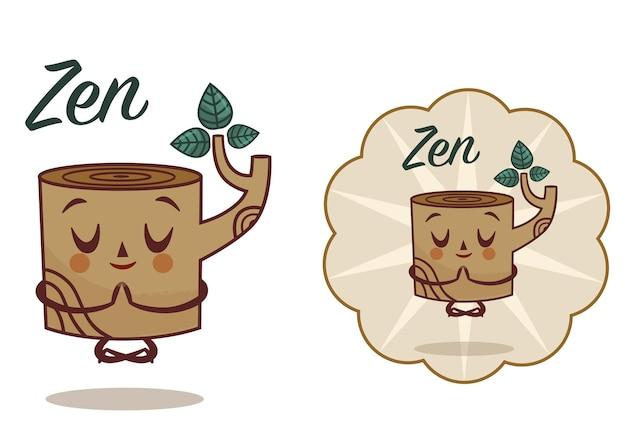 Maskottchen-charakter und etikett im zen-thema vektor-illustration