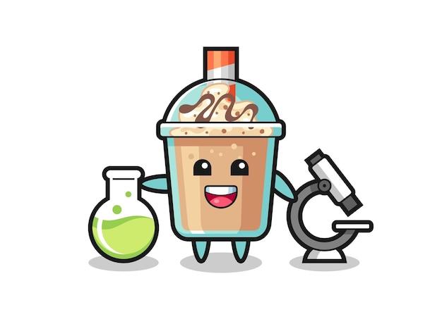Maskottchen-charakter von milchshake als wissenschaftler, süßes stildesign für t-shirt, aufkleber, logo-element