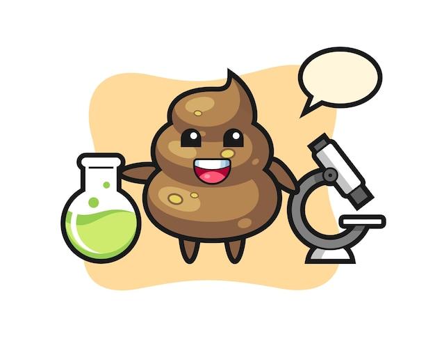 Maskottchen-charakter von poop als wissenschaftler, süßes design für t-shirt, aufkleber, logo-element