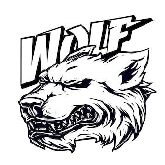 Maskottchen der wolfsgrinsenkopfillustration