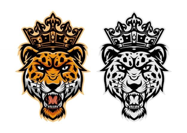 Maskottchen des könig-leopardenkopf-logos