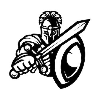 Maskottchen eines spartanischen kriegers