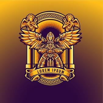 Maskottchen-engel umrandet goldenen luxus