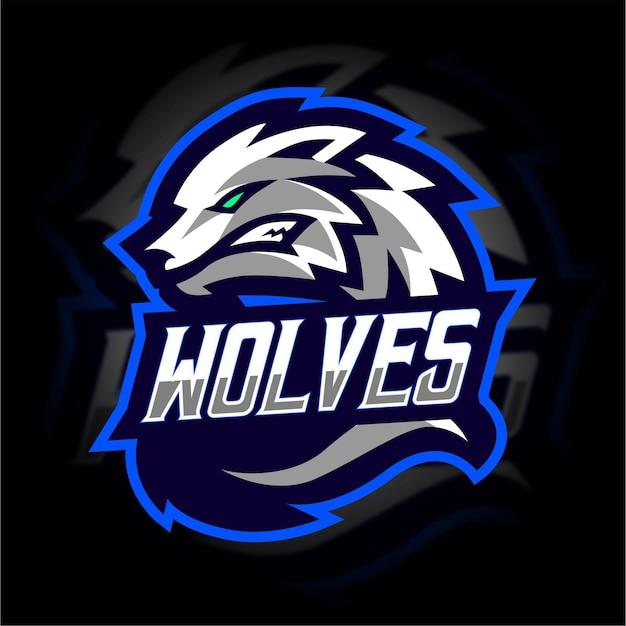 Maskottchen-gaming-logo des weißen wolfs