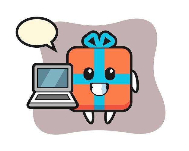 Maskottchen geschenkbox mit einem laptop