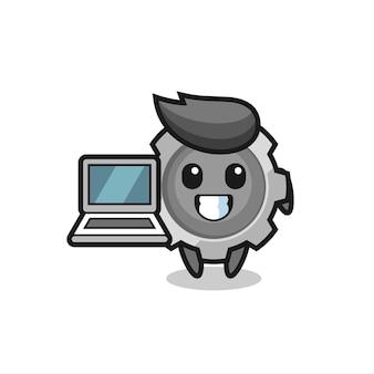 Maskottchen-illustration der ausrüstung mit einem laptop, niedlichem stildesign für t-shirt, aufkleber, logoelement