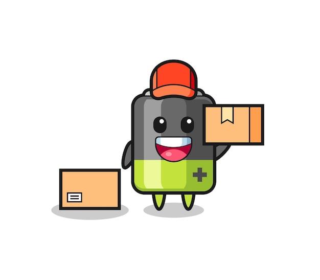 Maskottchen-illustration der batterie als kurier, niedliches design für t-shirt, aufkleber, logo-element