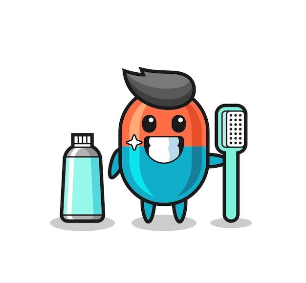 Maskottchen-illustration der kapsel mit einer zahnbürste, süßes design für t-shirt, aufkleber, logo-element