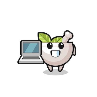 Maskottchen-illustration der kräuterschüssel mit einem laptop, niedlichem stildesign für t-shirt, aufkleber, logoelement