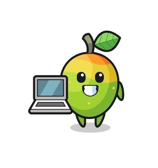 Maskottchen-illustration der mango mit einem laptop, niedlichem stildesign für t-shirt, aufkleber, logoelement
