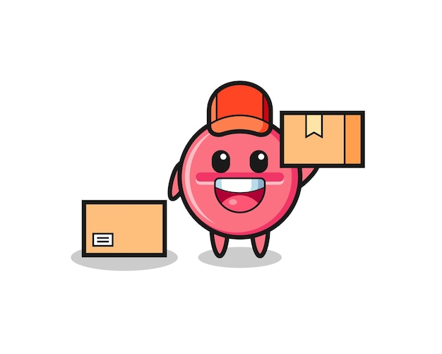 Maskottchen illustration der medizintablette als kurier, süßes design