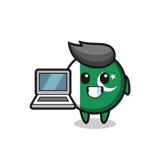 Maskottchen-illustration der pakistanischen flagge mit einem laptop, süßes design