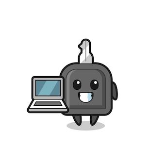 Maskottchen-illustration des autoschlüssels mit einem laptop, nettes artdesign für t-shirt, aufkleber, logoelement