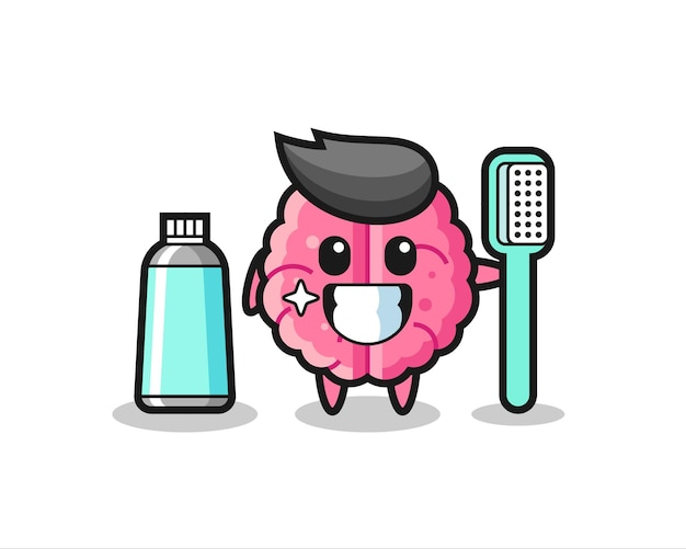 Maskottchen-illustration des gehirns mit einer zahnbürste, süßes design für t-shirt, aufkleber, logo-element