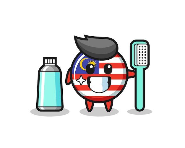 Maskottchen-illustration des malaysischen flaggenabzeichens mit einer zahnbürste, süßes design für t-shirt, aufkleber, logo-element