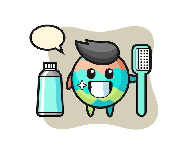 Maskottchen-illustration einer badebombe mit einer zahnbürste, süßes design für t-shirt, aufkleber, logo-element