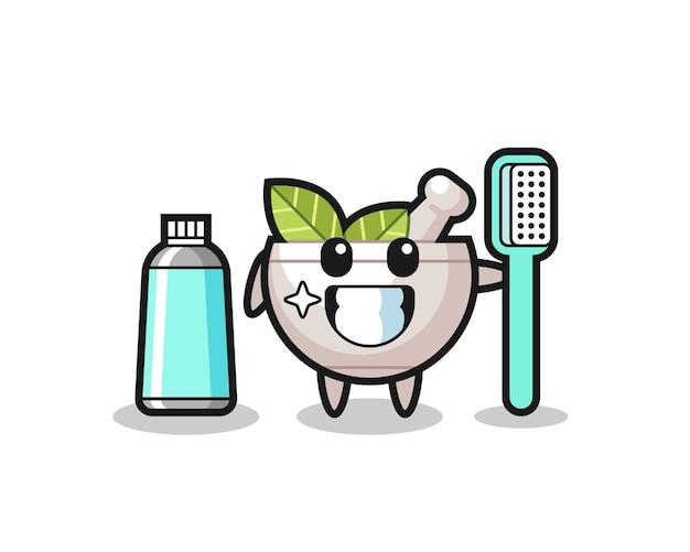 Maskottchen-illustration einer kräuterschale mit zahnbürste, süßes design für t-shirt, aufkleber, logo-element