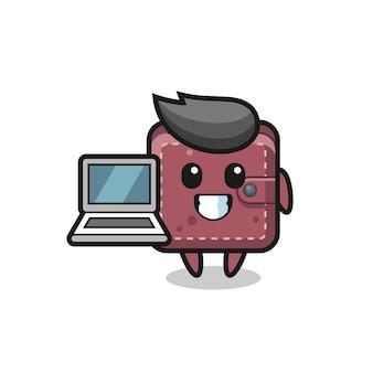 Maskottchen-illustration einer ledergeldbörse mit einem laptop