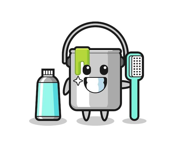 Maskottchen-illustration von farbdose mit zahnbürste, süßes design für t-shirt, aufkleber, logo-element