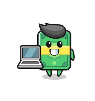 Maskottchen-illustration von geld mit einem laptop, niedlichem stildesign für t-shirt, aufkleber, logo-element