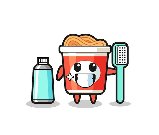 Maskottchen-illustration von instant-nudeln mit zahnbürste, süßes design für t-shirt, aufkleber, logo-element