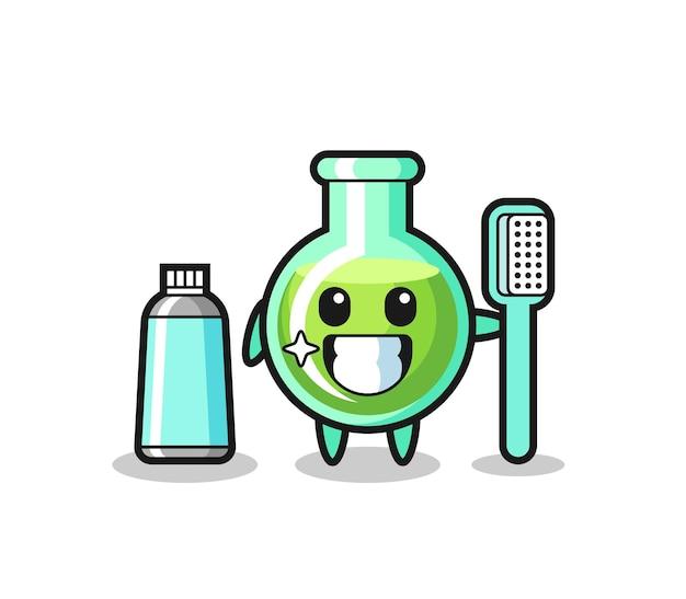 Maskottchen-illustration von laborbechern mit zahnbürste, süßes design für t-shirt, aufkleber, logo-element